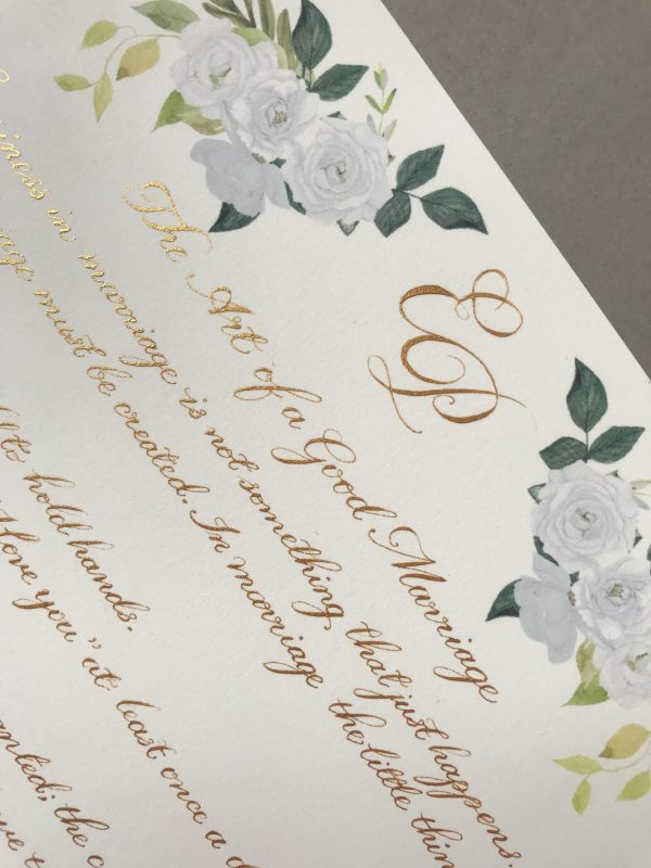 Classic Calligraphy Style with Illustrations - Gold Ink - Bespoke Calligraphy Poem or Letter - Fine Art Design Studio