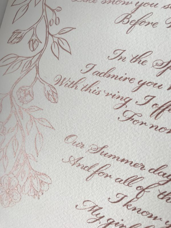 Classic Calligraphy Style with Illustrations - Rose Gold Ink - Bespoke Calligraphy Poem or Letter - Fine Art Design Studio