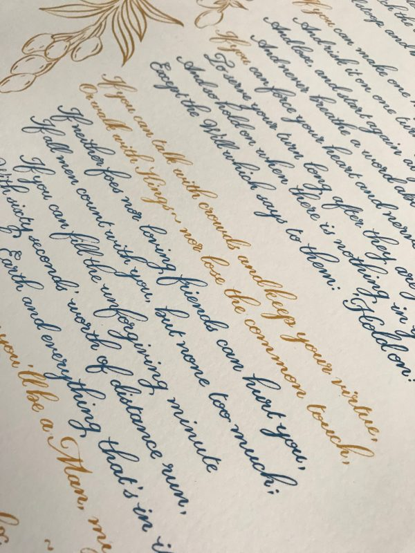 Classic Calligraphy Style - Gold and Blue Metallic Ink - Bespoke Calligraphy Poem or Letter - Fine Art Design Studio