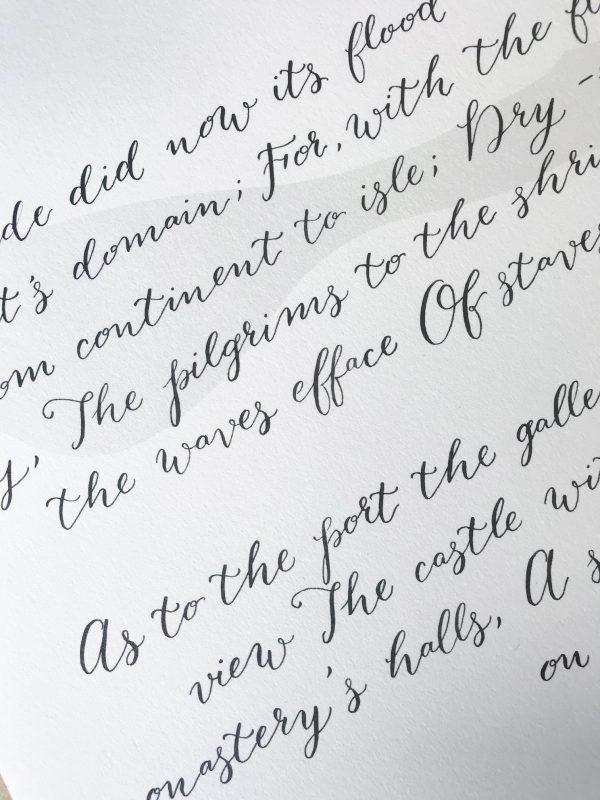 Modern Calligraphy Style - Black Ink - Bespoke Calligraphy Poem or Letter - Fine Art Design Studio