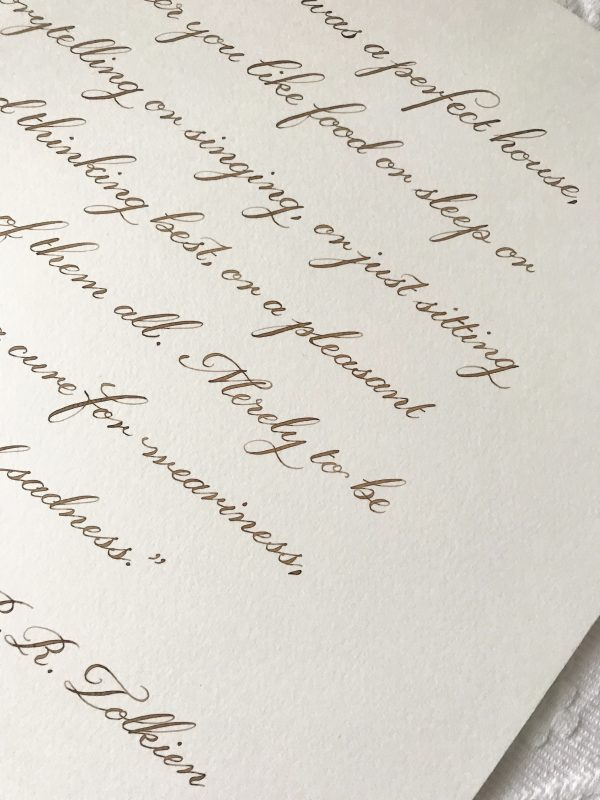 Classic Calligraphy Style - Walnut Ink - Bespoke Calligraphy Poem or Letter - Fine Art Design Studio