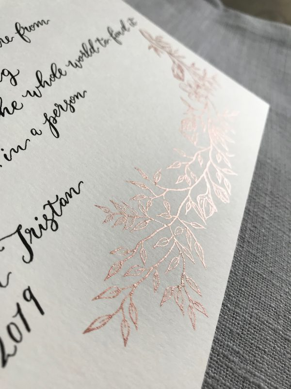 Modern Calligraphy Style - Black and Rose Gold Ink - Bespoke Calligraphy Poem or Letter - Fine Art Design Studio
