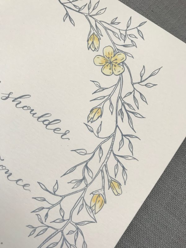 Grey Ink Calligraphy with watercolour flowers - Fine Art Design Studio