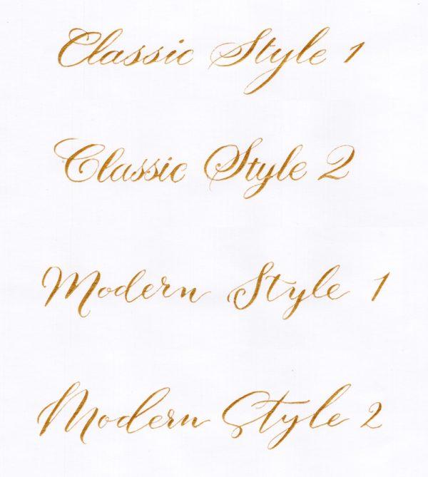 Example Calligraphy Styles - Fine Art Design Studio
